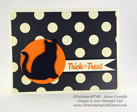 Stampin' Up! Spooky Cat DOstamperSTARS swap shared by Dawn Olchefske #dostamping #stampinup #handmade #cardmaking #stamping #diy #halloween (Aimee Gravelle)