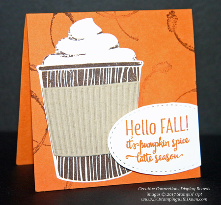 Stampin' Up! Merry Cafe stamp set & Coffee Cups framelits shared by Dawn Olchefske #dostamping #stampinup #handmade #cardmaking #stamping #diy #fall #halloween #rubberstamping