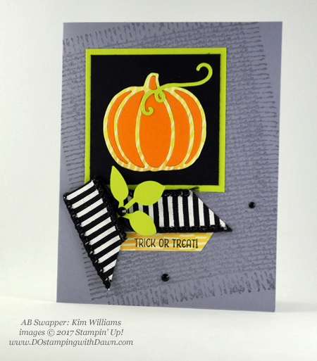 Stampin' Up! Seasonal Chums stamp set, Patterned Pumpkins thinlits & Leaf punch shared by Dawn Olchefske #dostamping #stampinup #handmade #cardmaking #stamping #diy #fall #halloween #rubberstamping (Kim Williams)