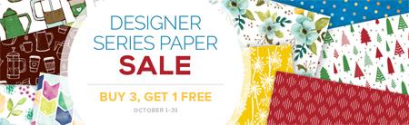 Stampin' Up! Designer Series Paper Buy 3, Get 1 Free Sale - October 2017 Shop with Dawn Olchefske #dostamping #stampinup #DSP #designerseriespaper
