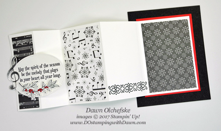 Stampin' Up! Musical Season Bundle Panel Pull-Out Fun Fold card from Dawn Olchefske #dostamping  #stampinup #handmade #cardmaking #stamping #diy #rubberstamping #bigshot #musicalseason #musicalinstrumentsframelits #christmas #holiday #funfold #scs
