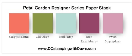 Stampin' Up! color combo (Calypso Coral, Old Olive, Pool Party, Rich Razzleberry, Sweet Sugarplum, Whisper White) by Dawn Olchefske #dostamping #stampinup #colorcombo