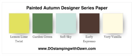 Stampin' Up! color combo (Cajun Craze, Crushed Curry, Daffodil Delight, Early Espresso, Garden Green, Lemon Lime Twist, PeekabooPeach, Soft Sky, Tangerine Tango, Very Vanilla) by Dawn Olchefske #dostamping #stampinup #colorcombo