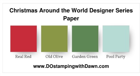 Stampin' Up! color combo (Basic Gray, Garden Green, Old Olive, Pool Party, Real Red, Soft Suede, Very Vanilla, Whisper White) by Dawn Olchefske #dostamping #stampinup #colorcombo