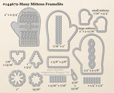 Many Mittens Framelit sizes shared by Dawn Olchefske #dostamping #stampinup #framelits #thinlits #bigshot