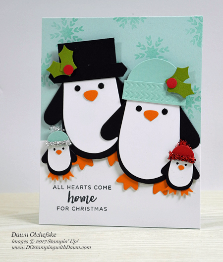 Stampin' Up! Smitten Mitten Bundle Penguin Family card by Dawn Olchefske for DOstamperSTARS Thursday Challenge #DSC254 #dostamping #stampinup #handmade #cardmaking #stamping #diy #smittenmitten #manymittens #christmas #punchart #penguin