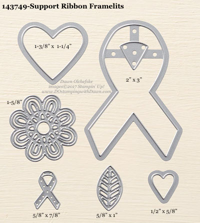 Stampin' Up! Support Ribbon Framelit Dies sizes shared by Dawn Olchefske #dostamping