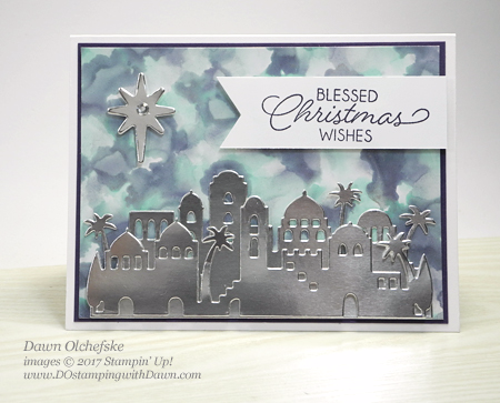 Stampin' Up! Night in Bethlehem Bundle Polished Stone card by Dawn Olchefske #dostamping  #stampinup #handmade #cardmaking #stamping #diy #rubberstamping #techniques #polishedstone #howdshedothat #christmas #christmascard #nightinbethlehem #bethlehemedgelits