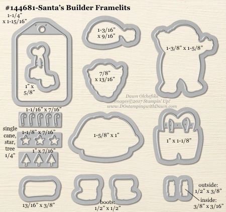 Santa Builder Framelit sizes shared by Dawn Olchefske #dostamping #stampinup #framelits #thinlits #bigshot