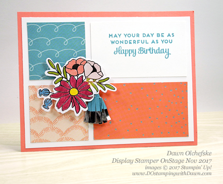 Blog Hop for Display Stampers OnStage November 2017. Stampin' Up! Sweet Soiree Designer Series Paper shared by Dawn Olchefske #dostamping  #stampinup #handmade #cardmaking #stamping #diy #rubberstamping #birthday #OnStage2017 #displaystampers #birthday