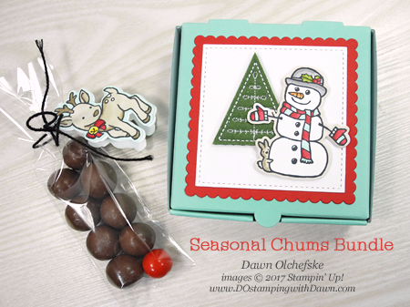 Stampin' Up! Seasonal Chums Mini Pizza Box Shared by Dawn Olchefske for DOstamperSTARS Thursday Challenge #DSC258 #dostamping #stampinup #handmade #cardmaking #stamping #diy #seasonalchums #christmas #gift #minipizzabox #gift
