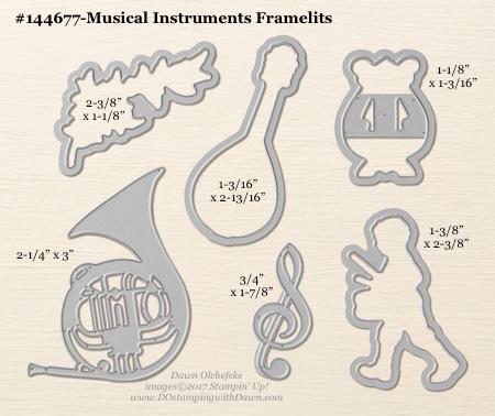 Musical Instruments Framelit sizes shared by Dawn Olchefske #dostamping #stampinup #framelits #thinlits #bigshot