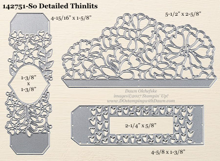 Stampin' Up! So Detailed Thinlits Dies sizes shared by Dawn Olchefske #dostamping