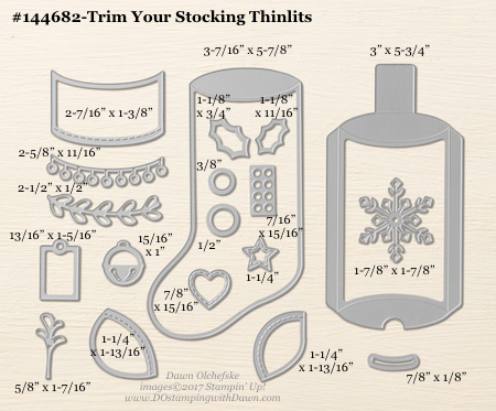 Trim Your Stocking Thinlit sizes shared by Dawn Olchefske #dostamping #stampinup #framelits #thinlits #bigshot