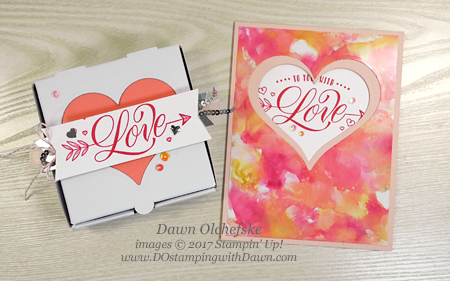Stampin' Up! Festive Phrases stamp set for Valentine's Day by Dawn Olchefske #dostamping  #stampinup #handmade #cardmaking #stamping #diy #love #valentine #valentinesday #festivephrases #bigshot #minipizzabox #treats