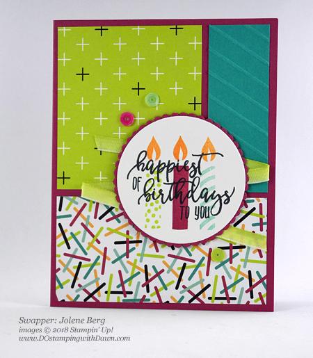 Stampin' Up! Picture Perfect Birthday Bundle DOstamperSTARS swap shared by Dawn Olchefske #dostamping #stampinup #handmade #cardmaking #stamping #birthday #diy #rubberstamping #papercrafting #DOstamperSTARS #2018OccasionsCatalog (Jolene Berg)