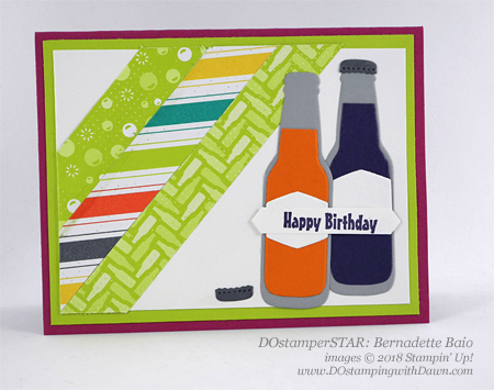 Stampin' Up! Bubble & Fizz Sale-a-Bration DSP and Bubble Over Bundle DOstamperSTARS swap shared by Dawn Olchefske #dostamping  #stampinup #handmade #cardmaking #stamping #diy #rubberstamping #papercrafting #DOstamperSTARS #2018OccasionsCatalog #birthdaycards (Bernadette Baio)