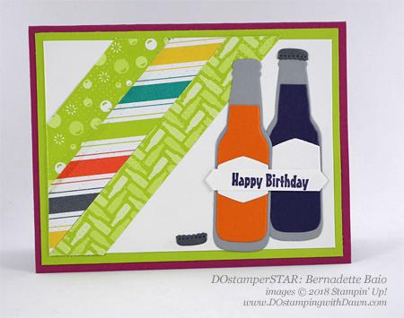 Stampin' Up! Bubble & Fizz Sale-a-Bration DSP and Bubble Over Bundle DOstamperSTARS swap shared by Dawn Olchefske #dostamping #stampinup #handmade #cardmaking #stamping #diy #rubberstamping #papercrafting #DOstamperSTARS #2018OccasionsCatalog #birthdaycards (Bernadette Baio)