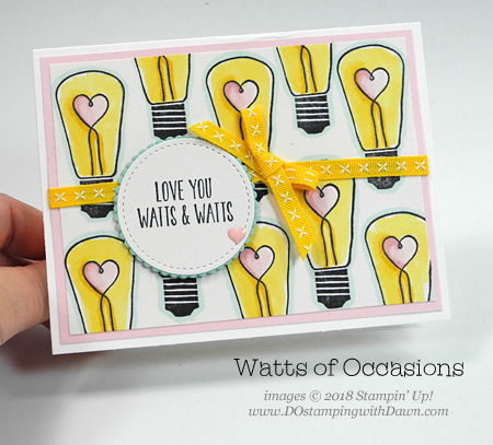 Stampin' Up! Watts of Occasions shared by Dawn Olchefske #dostamping  #stampinup #handmade #cardmaking #stamping #diy #rubberstamping #papercrafting #wattsofoccasions #valentinesdaycard #stampinblends