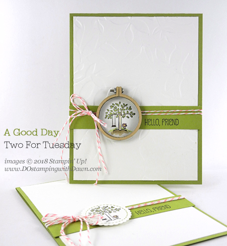 Stampin' Up! A Good Day stamp set shared by Dawn Olchefske #dostamping #stampinup #handmade #cardmaking #stamping #diy #rubberstamping #papercrafting #agoodday #thinkingofyou#miniembroideryhoops