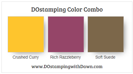 Stampin' Up! color combo Crushed Curry Rich Razzleberry Coft Suede by Dawn Olchefske #dostamping #stampinup #colorcombo