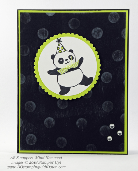 Stampin' Up! Sale-a-Bration Party Pandas  swaps shared by Dawn Olchefske #dostamping  #stampinup #handmade #cardmaking #stamping #diy #rubberstamping #papercrafting #saleabration #birthdaycards #partypandas (Mimi Henwood)