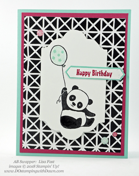 Stampin' Up! Sale-a-Bration Party Pandas  swaps shared by Dawn Olchefske #dostamping  #stampinup #handmade #cardmaking #stamping #diy #rubberstamping #papercrafting #saleabration #birthdaycards #partypandas (Lisa Fast)
