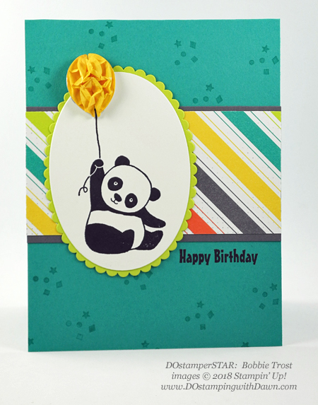Stampin' Up! Sale-a-Bration Party Pandas swaps shared by Dawn Olchefske #dostamping  #stampinup #handmade #cardmaking #stamping #diy #rubberstamping #papercrafting #partypandas #dostamperstars (BobbieTrost)
