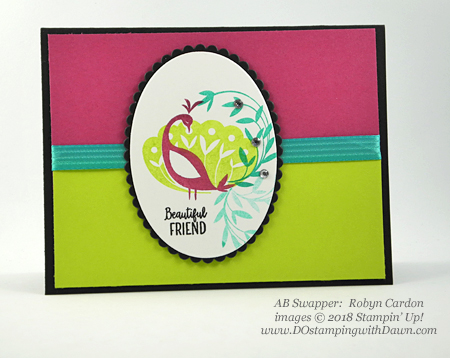 Stampin' Up! Sale-a-Bration Beautiful Peacock swap card shared by Dawn Olchefske #dostamping  #stampinup #handmade #cardmaking #stamping #diy #rubberstamping #papercrafting #birthdaycards #beautifulpeacock #saleabration (Robyn Cardon)