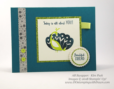 Stampin' Up! Sale-a-Bration Beautiful Peacock swap card shared by Dawn Olchefske #dostamping  #stampinup #handmade #cardmaking #stamping #diy #rubberstamping #papercrafting #birthdaycards #beautifulpeacock #saleabration (Kim Peck)