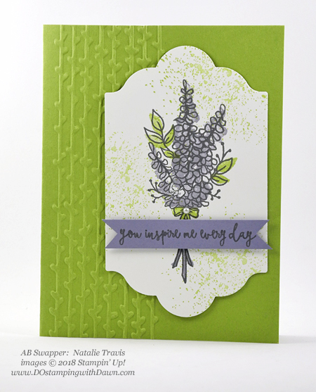 Stampin' Up! Sale-a-Bration Lots of Lavender swap card shared by Dawn Olchefske #dostamping  #stampinup #handmade #cardmaking #stamping #diy #rubberstamping #papercrafting #thinkingofyoucards #lotsoflavender #saleabration (Natalie Travis)