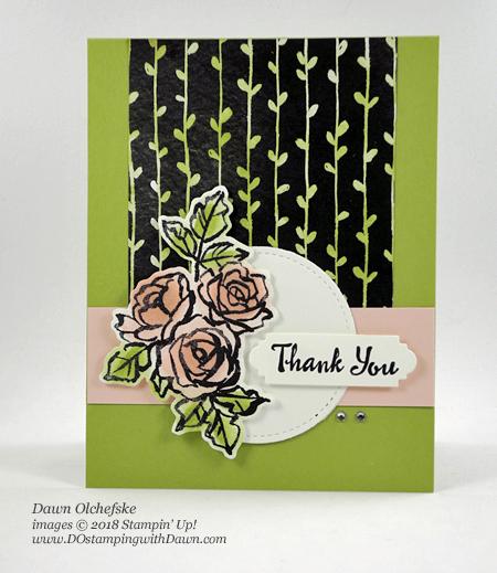 Stampin' Up! Petal Palette Bundle card by Dawn Olchefske for DOstamperSTARS Thursday Challenge #DSC271 #dostamping #stampinup #handmade #cardmaking #stamping #diy #rubberstamping #papercrafting #petalpalettestampset #petals&morethinlits #thankyoucards #bigshot