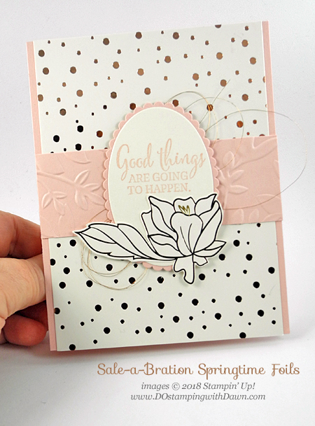 Stampin' Up! Sale-a-Bration Springtime Foils DSP, You've Got This card shared by Dawn Olchefske #dostamping  #stampinup #handmade #cardmaking #stamping #diy #rubberstamping #papercrafting #springtimefoils #youvegotthis #thinkingofyoucards #saleabration #bigshot