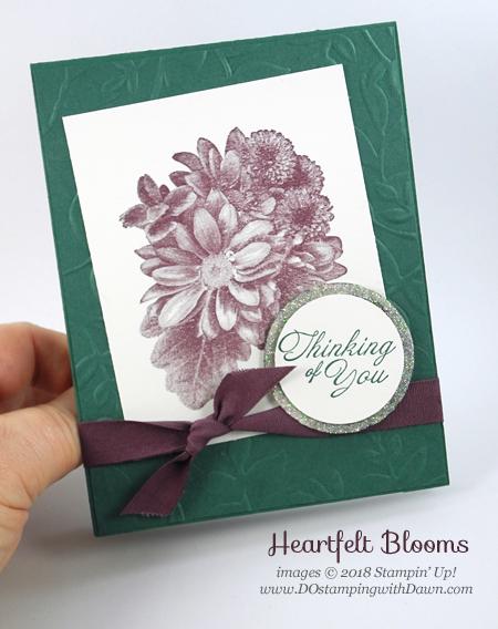 Stampin' Up! Sale-a-Bration Heartfelt Blooms shared by Dawn Olchefske #dostamping #stampinup #handmade #cardmaking #stamping #diy #rubberstamping #papercrafting #thinkingofyoucards #heartfeltblooms #saleabration2018