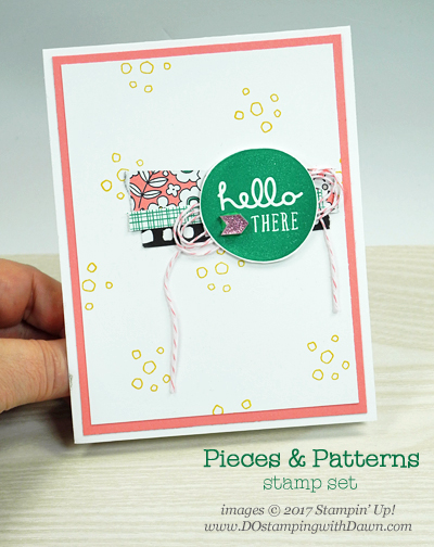 Stampin' Up! Pieces & Patterns card using up DSP scraps shared by Dawn Olchefske #dostamping  #stampinup #cardmaking