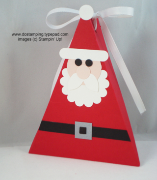 Cute Santa Triangle box made with #stampinup punches,  #dostamping #punchart #christmas
