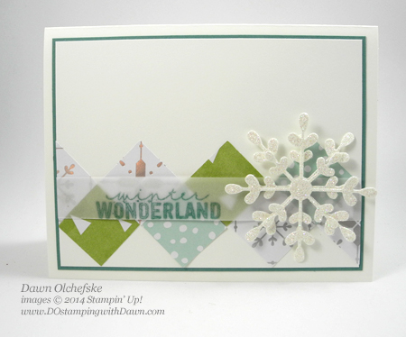 All is Calm Snowflake Card Thinlet Square Diamond Board card, by Dawn Olchefske, dostamping  #Christmas #cardmaking  #stampinup