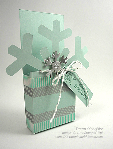 Fun Treat Box, Nov 2014 Paper Pumpkin Simply Snowflake creations by Dawn Olchefske (dostamping), #holiday #packaging  #stampinup