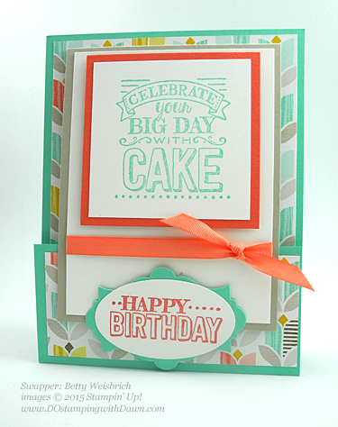 Stampin' Up! Sale a Bration swap cards shared by Dawn Olchefske, #dostamping #big day (Betty Weisbrich)