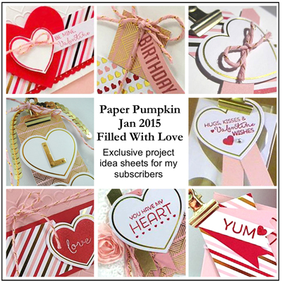 Just in time for Valentine's Day, Stampin' Up!'s Jan 2015 Paper Pumpkin Filled With Love, exclusive project ideas for Dawn Olchefske's Paper Pumpkin Subscribers #dostamping #paperpumpkin