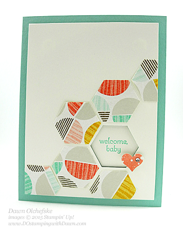 Hexagon punch window card using Sale-a-Bration Best Year Ever DSPcreated by Dawn Olchefske for DOstamperSTARS Thursday Challenge #120 #dostamping #stampinup