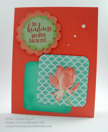 Sale-A-Bration Lotus Blossom swap card shared by Dawn Olchefske #dostamping #stampinup (Robyn Rasset)