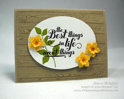 Petite Petals Daffodil Punch Art Card Shared by Dawn Olchefske #stampinup #punchart