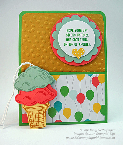 Sprinkles of Life swaps cards shared by Dawn Olchefske #dostamping #stampinup, Kelly Gettlefinger