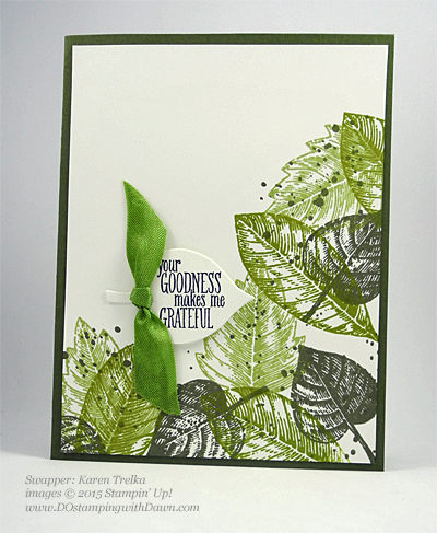 Lighthearted Leaves cards shared by Dawn Olchefske #dostamping #stampinup, Vintage Leaves (Karen Trelfa)