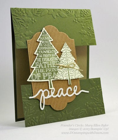 Peaceful Pines and Perfect Pines Framelits Dies cards shared by Dawn Olchefske #dostamping #stampinup (Mary Ellen Byler)