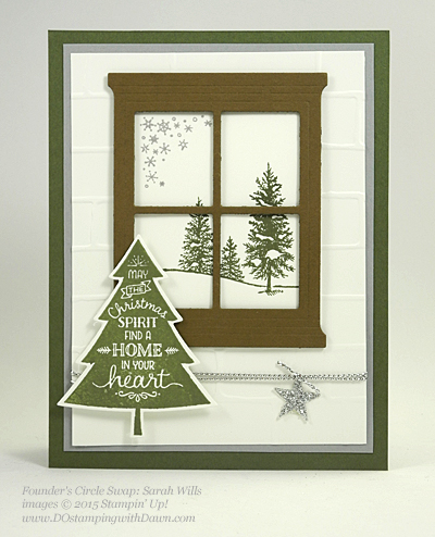 Peaceful Pines and Perfect Pines Framelits Dies cards shared by Dawn Olchefske #dostamping #stampinup (Sarah Wills)
