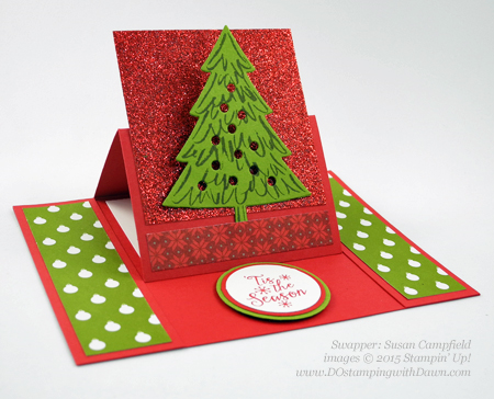 Peaceful Pines and Perfect Pines Framelits Dies cards shared by Dawn Olchefske #dostamping #stampinup (Susan Campfield)
