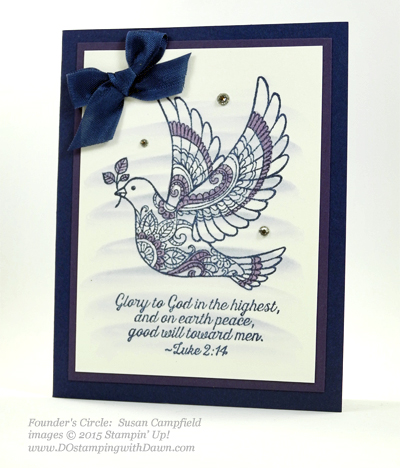 Dove of Peace swap card shared by Dawn Olchefske #dostamping #stampinup (Susan Campfield)
