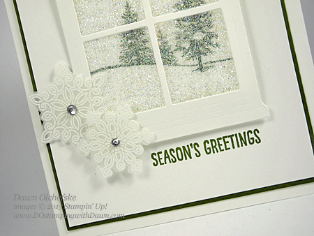 Hearth & Home Glitter Window card shared by Dawn Olchefske #dostamping #stampinup